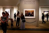 A photograph of former president Donald Trump is displayed in the Smithsonian National Portrait Gallery in Washington on May 14, 2021