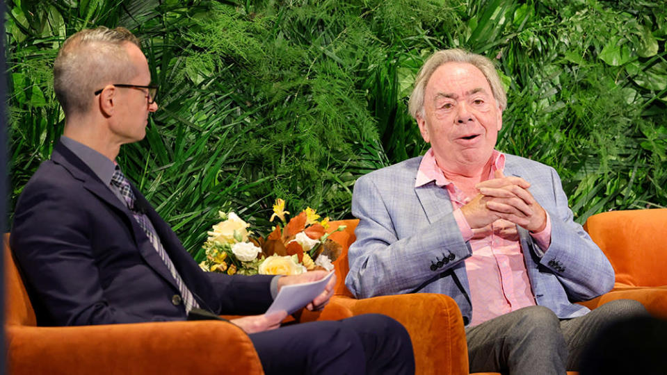 NEW YORK, NEW YORK – OCTOBER 12: Gordon Cox and Andrew Lloyd Webber speak onstage during Variety LEGIT!: Return to Broadway presented by City National Bank at Second on October 12, 2021 in New York City. (Photo by Jamie McCarthy/Getty Images for Variety)