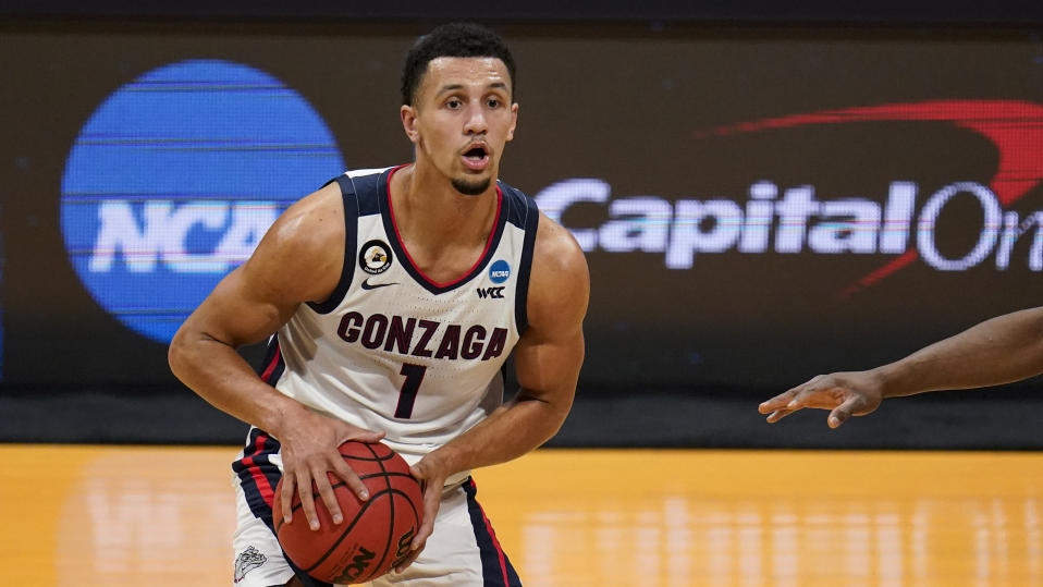 Gonzaga guard Jalen Suggs (1) has his team two wins from a Final Four. (AP Photo/Michael Conroy)