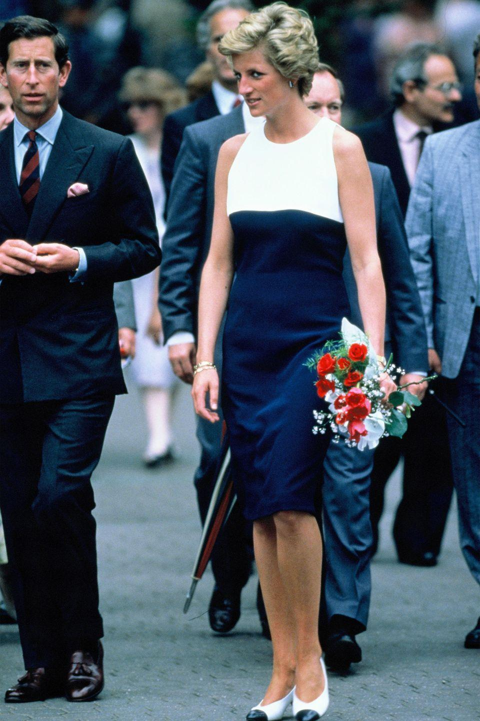 <p>In a white-and-navy dress during an official visit to Hungary.</p>