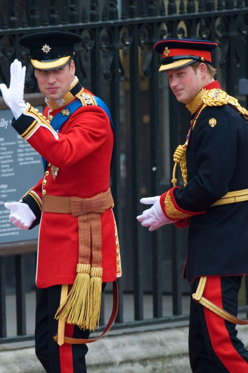 <p>At the royal wedding of Prince William and Kate Middleton, Harry makes his way inside Westminster Abbey with his brother. </p>