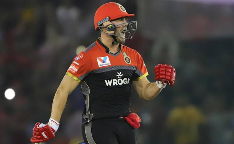 AB de Villiers of Royal Challengers Bangalore celebrates win during match 28 of the Vivo Indian Premier League Season 12, 2019 between the Kings XI Punjab and the Royal Challengers Bangalore held at the IS Bindra Stadium, Mohali on the 13th April 2019 Photo by: Deepak Malik /SPORTZPICS for BCCI
