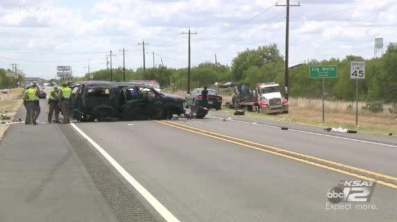 A Chevrolet Suburban believed to be carrying a dozen undocumented immigrants crashed in Big Wells, Texas, on Sunday, killing at least five people. (Photo: KSAT 12)