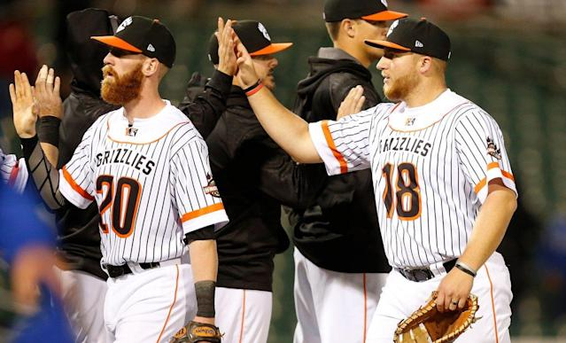 These Fresno Grizzlies players didn't put on their jerseys backwards. (Twitter/@FresnoGrizzlies)