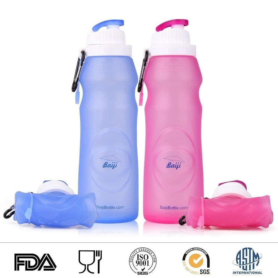 """<p>If you're looking for something you can take on the go, consider this <span>Baiji Bottle Collapsible Silicone Water Bottle</span> ($13). This customer loved how it fit her lifestyle: """"I travel a lot and always carry water with me. I don't like to use my standard reusable bottle because it's too heavy for travel . . . This bottle is the perfect solution for me.""""</p>"""