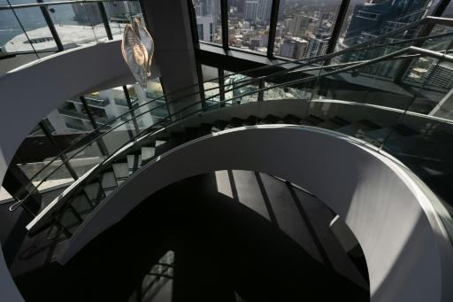A view of the swirling staircase at One Thousand Museum