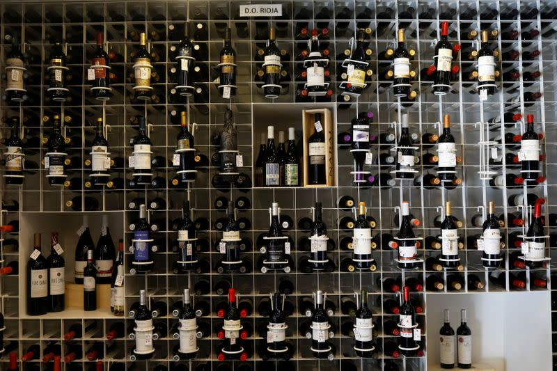 FILE PHOTO: Bottles of wine with Rioja designation of origin are seen in a shop in Madrid