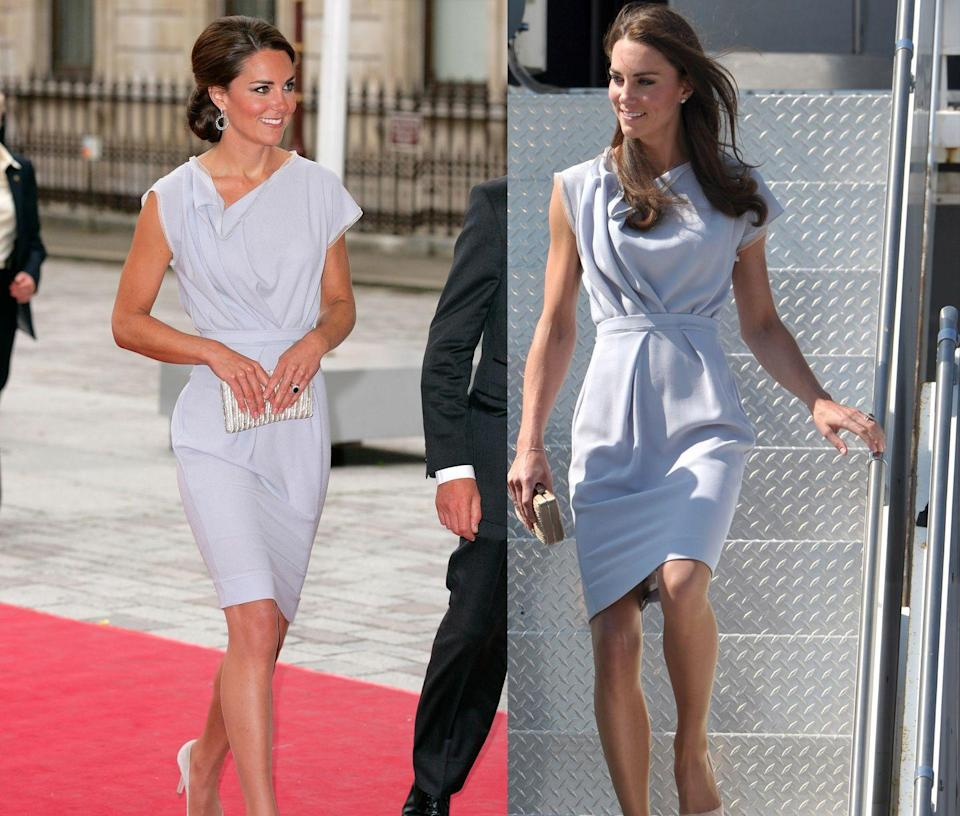<p>This soft purple Roksanda Ilincic was first worn by Kate in July 2011 while visiting Los Angeles and then again in July 2012. </p>