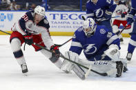 Tampa Bay Lightning goaltender Curtis McElhinney (35) makes a save against Columbus Blue Jackets' Eric Robinson during the first period of an NHL hockey game Thursday, April 22, 2021, in Tampa, Fla. (AP Photo/Mike Carlson)