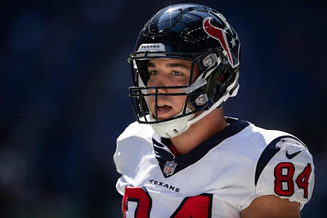 Texans TE Ryan Griffin is facing vandalism charges after police say he broke a window of a hotel in downtown Nashville. (Getty Images)