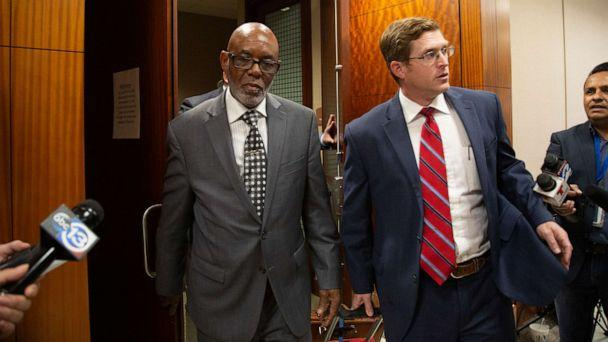 PHOTO: Otis Mallet, center, exits the 338th District Criminal Court with his lawyer Jonathan Landers, right, Jan. 9, 2020, (Houston Chronicle via AP, FILE)