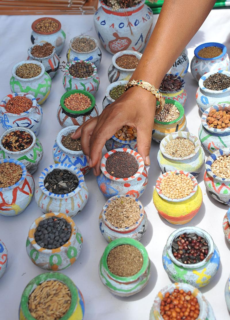 An Indian woman arranges a display of seeds and spices in Hyderabad on May 22, 2011