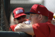Los Angeles Angels' Mike Trout watches batting practice during spring training baseball practice, Monday, Feb. 17, 2020, in Tempe, Ariz. (AP Photo/Darron Cummings)