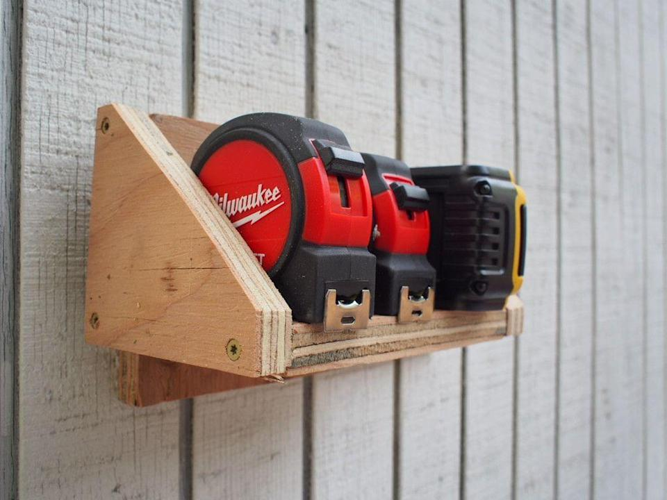 <p>You can reinforce the shelf by adding side supports which will help prevent items from falling off as well as provide additional strength when holding heavy items such as pipe clamps.</p>