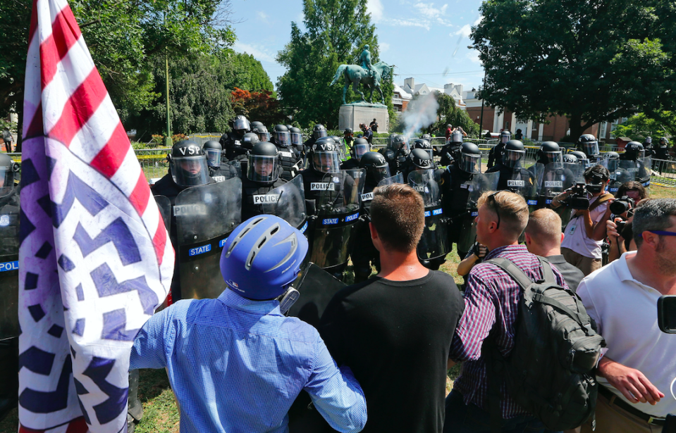 <em>White supremacists were protesting against the removal of a statue of Confederal general Robert E Lee (PA)</em>