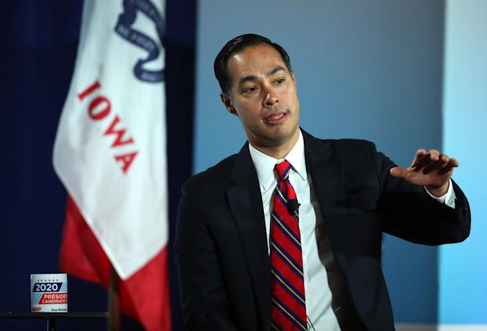 Democratic presidential candidate former U.S. Secretary of Housing and Urban Development Julian Castro speaks during the AARP and The Des Moines Register Iowa Presidential Candidate Forum on July 16, 2019 in Bettendorf, Iowa.   Justin Sullivan—Getty Images