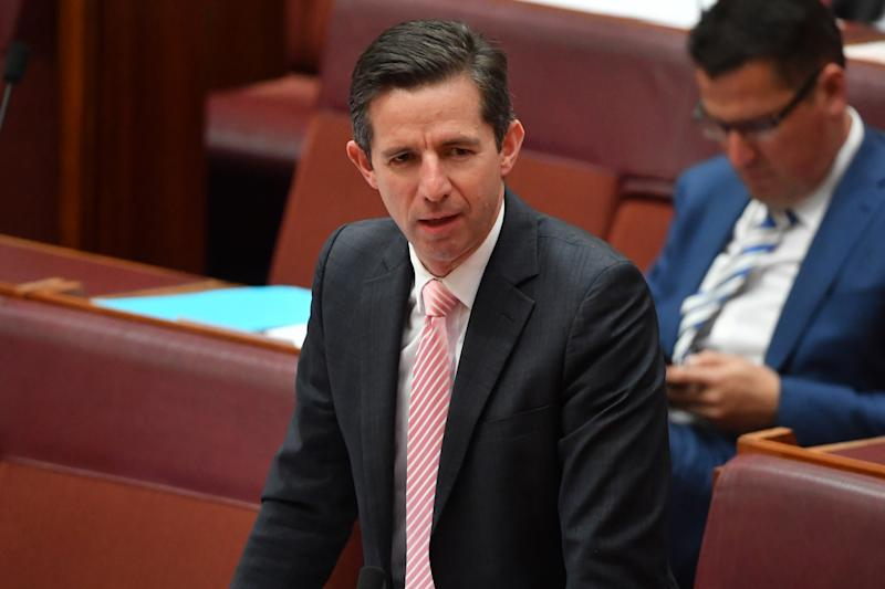 Minister for Trade Simon Birmingham in the senate in a charcoal suit and a striped pink tie.