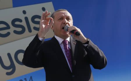 Turkey's President Tayyip Erdogan makes a speech during the opening ceremony of an imam-hatip school in Ankara