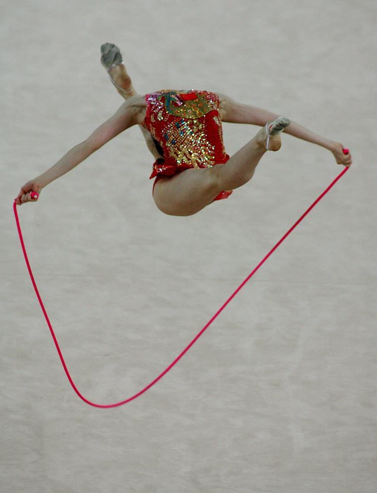 ** FOR USE WITH YEAR END AS DESIRED--FILE ** Yiming Xiao from China performs in the individual rope final during the 28th Rhythmic Gymnastics World Championships in the city of Patras, southern Greece, in this Sept. 21, 2007, file photo. (AP Photo/Thanassis Stavrakis, file)