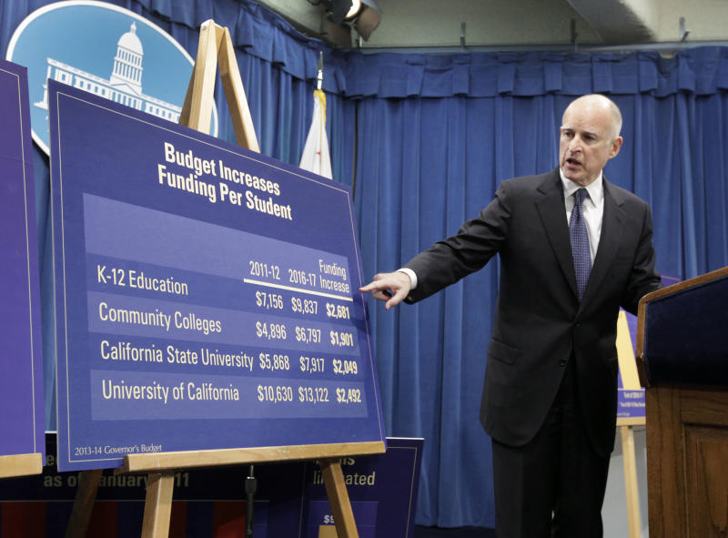 Gov. Jerry Brown points to a chart showing an increase in education funding during a news conference where he unveiled his proposed 2013-14 state budget at the Capitol in Sacramento, Calif., Thursday, Jan. 10, 2013. Brown is proposing to spend $2.7 billion more on K-12 education for the next fiscal year. (AP Photo/Rich Pedroncelli)