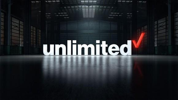 Verizon's unlimited logo in a warehouse.