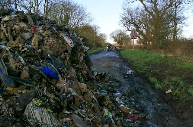 """Furious residents have slammed """"disgusting"""" flytippers who left a road in Leicestershire impassable (Picture: SWNS)"""