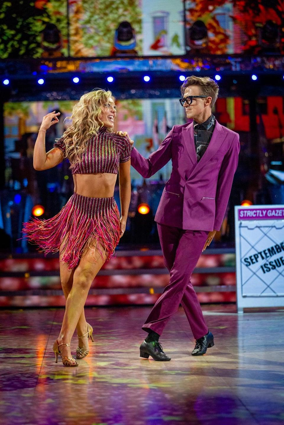 EMBARGOED TO 2120 SATURDAY SEPTEMBER 25 For use in UK, Ireland or Benelux countries only Undated BBC handout photo of Amy Dowden and Tom Fletcher during the dress run for the first episode of Strictly Come Dancing 2021. (PA Media)