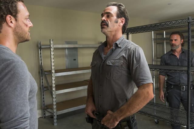 Ross Marquand as Aaron, left, Steven Ogg as Simon, and Andrew Lincoln as Rick on <em>The Walking Dead.</em> (Photo: AMC)