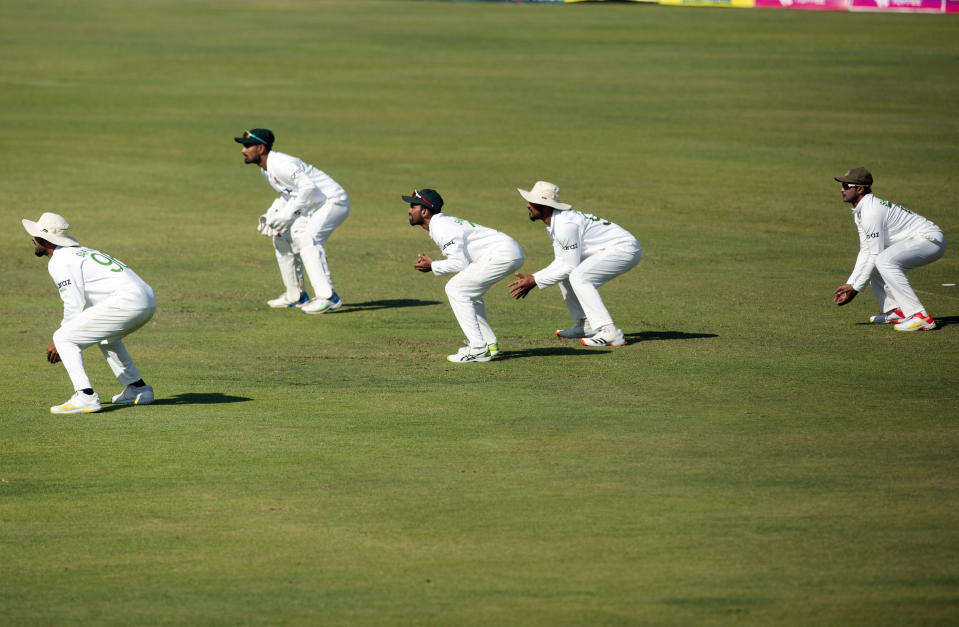 Bangladesh players position themseleves for a catch on the second day of the test cricket match between Zimbabwe and Bangladesh at Harare Sports Club in Harare,Thursday, July,8, 2021.(AP Photo/Tsvangirayi Mukwazhi)