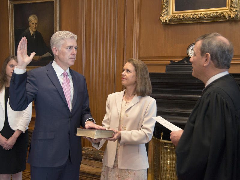 Neil Gorsuch is sworn in as the next Supreme Court Justice: AP