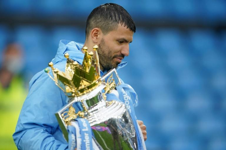 Fond farewell: Sergio Aguero scored twice in his final Premier League game for Manchester City