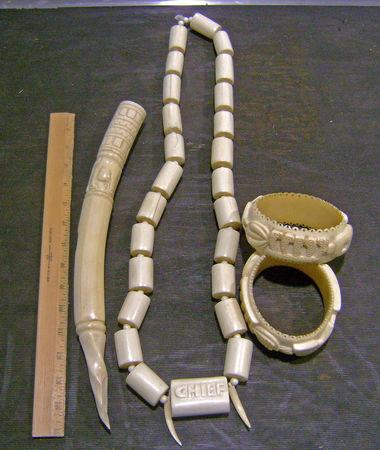 Several pieces of jewelry made of banned African elephant tusk ivory from Nigerian man at Baltimore Washington International Thurgood Marshall Airport in Maryland, U.S. are shown after its confiscation on May 1, 2013.     Courtesy CBP/Handout via REUTERS