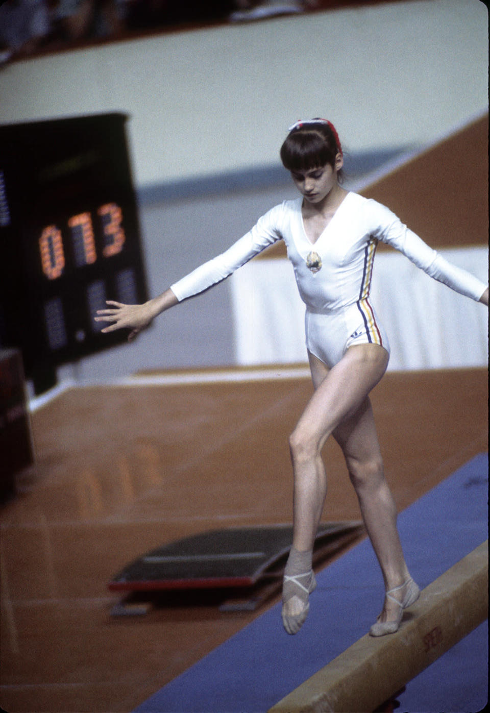 <p>Nadia Com?neci performs on the beam at the 1976 Olympics in Montreal. (Photo by ABC Photo Archives/ABC via Getty Images) </p>