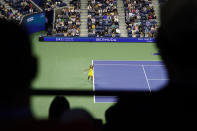 Naomi Osaka, of Japan, serves to Leylah Fernandez, of Canada, during the third round of the US Open tennis championships, Friday, Sept. 3, 2021, in New York. (AP Photo/Frank Franklin II)