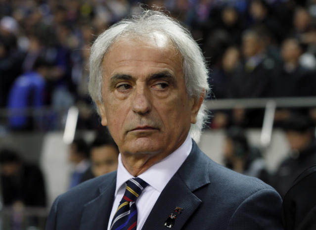 In this Nov. 15, 2016 photo, Japan's coach Vahid Halilhodzic is seen before their 2018 World Cup Russia qualifier soccer match against Saudi Arabia, at Saitama Stadium, in Saitama, north of Tokyo. Halilhodzic is expected to be dismissed as Japan's head coach on Monday, April 9, 2018, following two disappointing international friendly matches and with the World Cup opening in just over two months. (AP Photo/Shuji Kajiyama)
