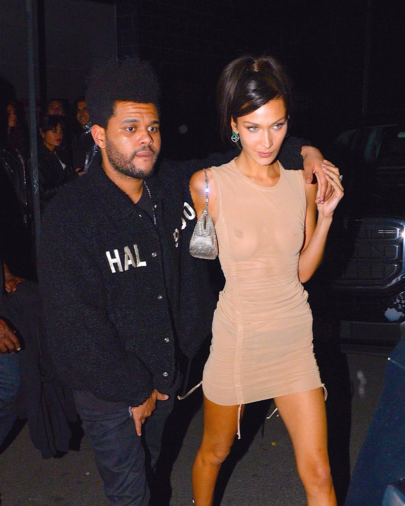 912e72edb242 Bella Hadid and The Weeknd Celebrated His Birthday With Matching Camo  Outfits