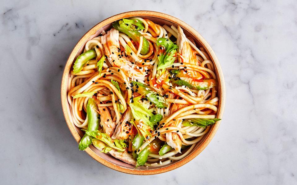 "This colorful cold noodle salad is infinitely riffable. Check out <a href=""http://www.bonappetit.com/recipe/ramen-with-steak-and-sesame-ginger-dressing?mbid=synd_yahoo_rss"" rel=""nofollow noopener"" target=""_blank"" data-ylk=""slk:Ramen with Steak and Sesame-Ginger Dressing"" class=""link rapid-noclick-resp"">Ramen with Steak and Sesame-Ginger Dressing</a>, <a href=""http://www.bonappetit.com/recipe/rice-noodles-with-shrimp-and-coconut-lime-dressing?mbid=synd_yahoo_rss"" rel=""nofollow noopener"" target=""_blank"" data-ylk=""slk:Rice Noodles with Shrimp and Coconut-Lime Dressing"" class=""link rapid-noclick-resp"">Rice Noodles with Shrimp and Coconut-Lime Dressing</a>, and <a href=""http://www.bonappetit.com/recipe/soba-with-tofu-and-miso-mustard-dressing?mbid=synd_yahoo_rss"" rel=""nofollow noopener"" target=""_blank"" data-ylk=""slk:Soba with Tofu and Miso-Mustard Dressing"" class=""link rapid-noclick-resp"">Soba with Tofu and Miso-Mustard Dressing</a> for even more ideas. <a href=""https://www.bonappetit.com/recipe/udon-with-chicken-and-garlicky-peanut-dressing?mbid=synd_yahoo_rss"" rel=""nofollow noopener"" target=""_blank"" data-ylk=""slk:See recipe."" class=""link rapid-noclick-resp"">See recipe.</a>"