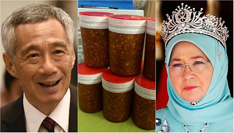 Singapore prime minister Lee Hsien Loong thanked Malaysia's queen, Tunku Azizah Aminah Maimunah, on 28 Oct 2019 via her Twitter for her gifts of home-made sambal belacan (shrimp chilli paste) over the years. (Photos: AFP-Getty/Azizah's Twitter/Reuters)