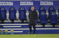 Leicester's manager Brendan Rodgers during the English Premier League soccer match between Leicester City and Chelsea at the King Power Stadium in Leicester, England, Tuesday, Jan. 19, 2021. (AP Photo/Rui Vieira, Pool)