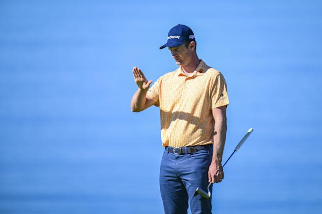 """<h1 class=""""title"""">Farmers Insurance Open - Final Round</h1> <div class=""""caption""""> SAN DIEGO, CA - JANUARY 27: Justin Rose of England uses AimPoint to read his putt on the fourth hole green during the final round of the Farmers Insurance Open on Torrey Pines South on January 27, 2019 in San Diego, California. (Photo by Keyur Khamar/PGA TOUR) </div> <cite class=""""credit"""">Keyur Khamar</cite>"""