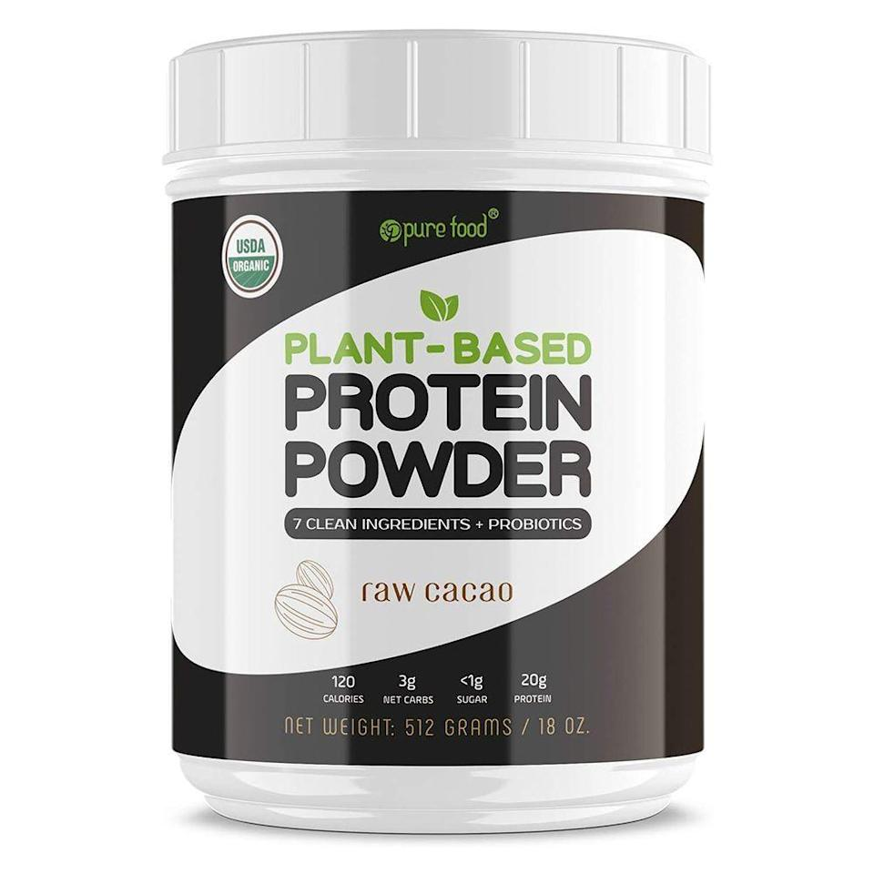 "<p><strong>Pure Food</strong></p><p>amazon.com</p><p><strong>$39.93</strong></p><p><a href=""https://www.amazon.com/dp/B015AJ6SSS?tag=syn-yahoo-20&ascsubtag=%5Bartid%7C2141.g.27044014%5Bsrc%7Cyahoo-us"" rel=""nofollow noopener"" target=""_blank"" data-ylk=""slk:Shop Now"" class=""link rapid-noclick-resp"">Shop Now</a></p><p>This protein powder from Pure Food is free of fiber fills, added sugars, and GMOs, and delivers one billion CFU of probiotics and three grams of fiber per serving. Packed with a blend of organic proteins from hemp protein, brown rice, and peas to provide a good amount of amino acids and fiber. One Amazon customer says: ""I love this product. It doesn't taste sweet because it is 100% natural. The cocoa flavoring is just right when mixed with water and it keeps me full through breakfast and lunch 'til halfway between lunch and dinner. And I love the way my body feels: energized and healthy so I'm ready to tackle the day."" <br></p><p><strong>Nutrition info (per 1-scoop serving): </strong>120 calories, 2 g fat (0 g saturated fat), 7 g carbs (4 g fiber, 1 g sugar), 20 g protein, 154 mg sodium </p>"