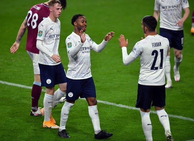 The Clarets could not contain Raheem Sterling (centre)