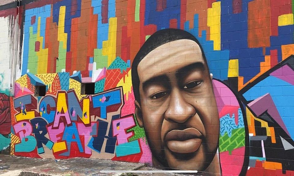 <p>The mural in Houston, Texas, painted by Daniel Anguilu, pictured here on Twitter before it was defaced this week with racist graffiti</p> (Twitter/Amandalattimerr)