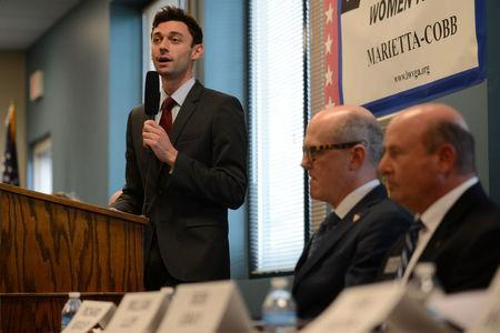 Democratic candidate Jon Ossoff speaks during the League of Women Voters' candidate forum for Georgia's 6th Congressional District special election to replace Tom Price, who is now the secretary of Health and Human Services, in Marietta, Georgia, U.S. April 3, 2017. REUTERS/Bita Honarvar