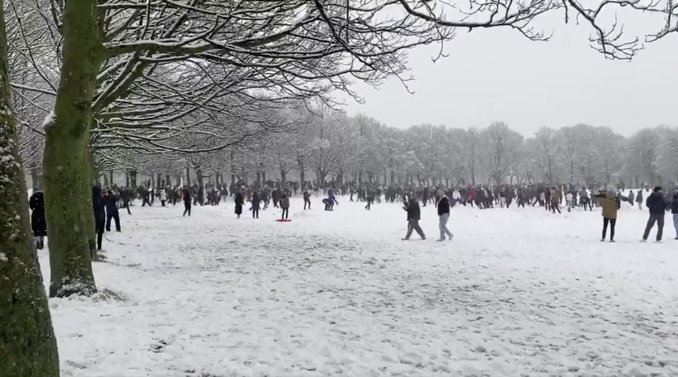 Liam Ford estimated about 200 people were involved in the snowball fight. (Liam Ford/@ljfpics/Twitter)