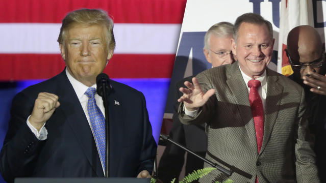 President Trump; Alabama Republican Senate candidate Roy Moore. (Photos: Michael Conroy/AP, Scott Olsen/Getty Images)