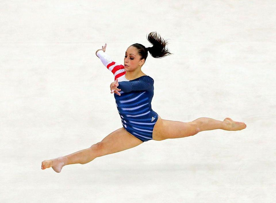 <p><em>Jordyn Wieber</em></p><p>Stars, stripes, red, white, blue, and crystals—Team USA pulling out all the stops on this one!</p>