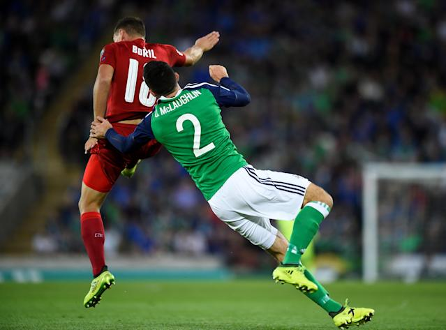 Soccer Football - 2018 World Cup Qualifications - Europe - Northern Ireland vs Czech Republic - Belfast, Britain - September 4, 2017 Northern Ireland's Conor McLaughlin collides with Czech Republic's Jan Boril REUTERS/Clodagh Kilcoyne