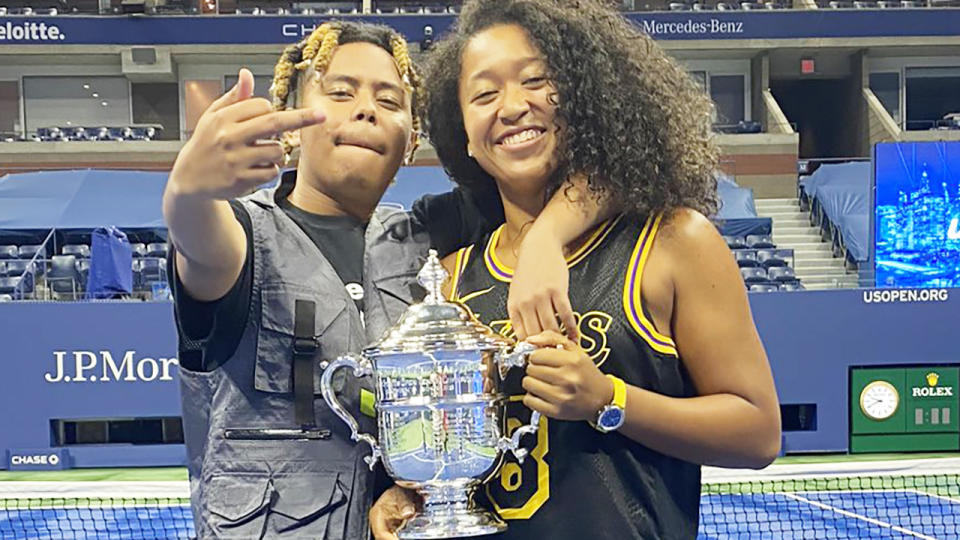 Naomi Osaka and boyfriend Cordae, pictured here celebrating her US Open triumph.