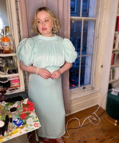 "<p>Coughlan wore a light blue dress by ROTATE with heels by Miu Miu.</p><p><a class=""link rapid-noclick-resp"" href=""https://go.redirectingat.com?id=127X1599956&url=https%3A%2F%2Fwww.net-a-porter.com%2Fen-gb%2Fshop%2Fdesigner%2Frotate-birger-christensen%3Ffi%3Ds&sref=https%3A%2F%2Fwww.elle.com%2Fuk%2Ffashion%2Fcelebrity-style%2Fg35467465%2Fnicola-coughlan-style%2F"" rel=""nofollow noopener"" target=""_blank"" data-ylk=""slk:SHOP ROTATE NOW"">SHOP ROTATE NOW</a></p><p><a href=""https://www.instagram.com/p/CJY4K7eA31y/"" rel=""nofollow noopener"" target=""_blank"" data-ylk=""slk:See the original post on Instagram"" class=""link rapid-noclick-resp"">See the original post on Instagram</a></p>"